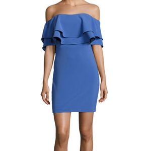 PARKER HARPER OFF-THE-SHOULDER RUFFLED MINI DRESS